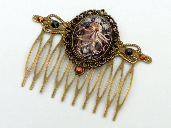 Steampunk Haarkamm mit Krake in braun bronze von Schmucktruhe