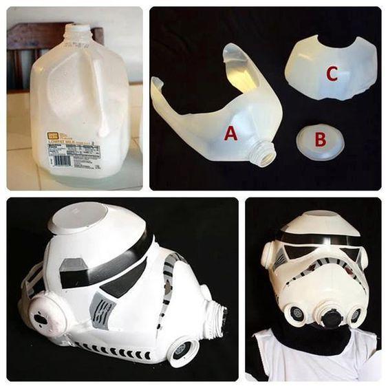 Mascara de soldado de asalto de Star Wars hecho con bidones de plástico ;)
