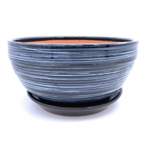Glazed Ceramic Plant Pot With Saucer Shallow Chiotolla Black