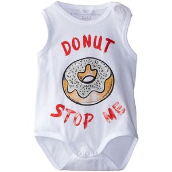 Stella McCartney Donut Onesie 100% Cotton size: 12M Imported Snap closure Machine Wash Short sleeve Bottom snap closure Envelope neckline Frosted donut graphic  100 percent Organic Cotton Stella McCartney Tops