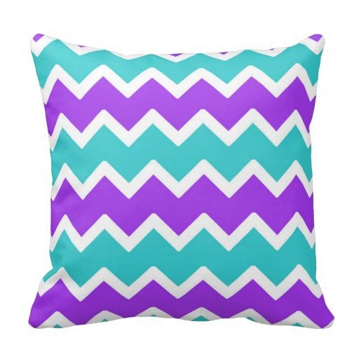Teal Blue and Purple Chevron Throw Pillow for girls bedroom bedding decor #decampstudios