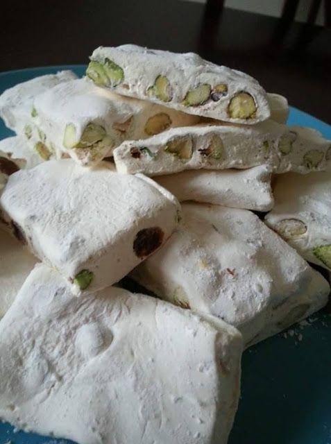 النوجا البيضا بالمكسرات نوجا بيضا بالفستق الحلبي Arabic Sweets Food Tasty