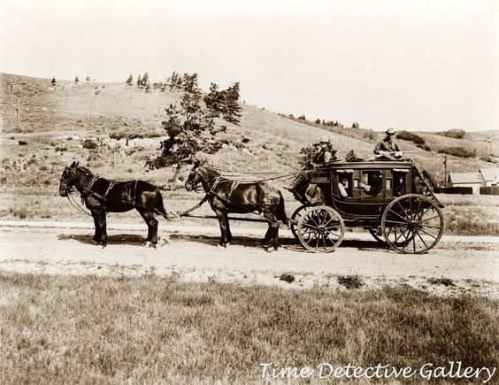Stagecoach in Yellowstone Park, Wyoming - ca. 1910 - Historic Photo Print