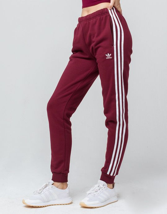 ADIDAS 3 Stripes Maroon Womens Jogger Pants in 2019 ...