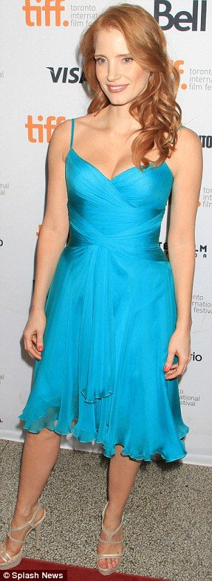 Jessica Chastain in turquoise Atelier Versace chiffon dress at 'The Disappearance Of Eleanor Rigby: Him And Her' premiere during the 2013 Toronto International Film Festival, Oct. 2013