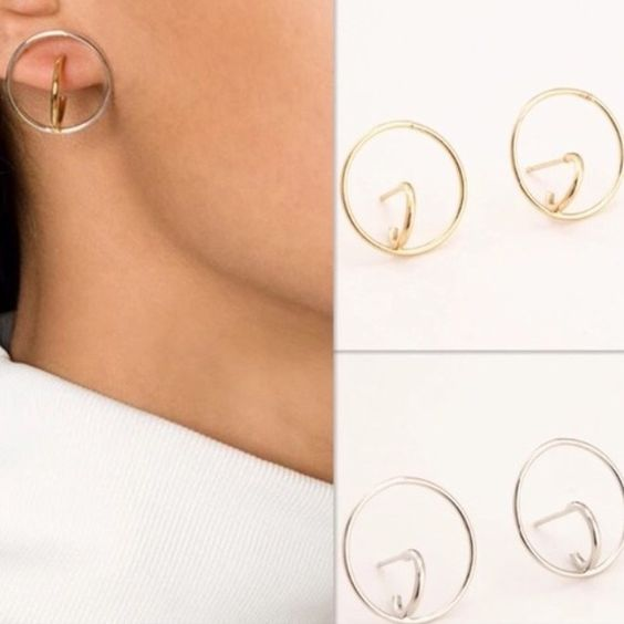 Dual Stud Hoop Earrings Silver & Gold Available Gold alloy stud hoop earrings. A spin on the classic style Jewelry Earrings