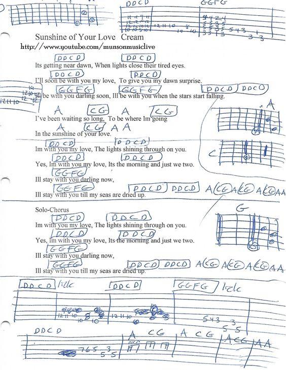 Sunshine Of Your Love Cream Guitar Chord Chart Guitar Lesson