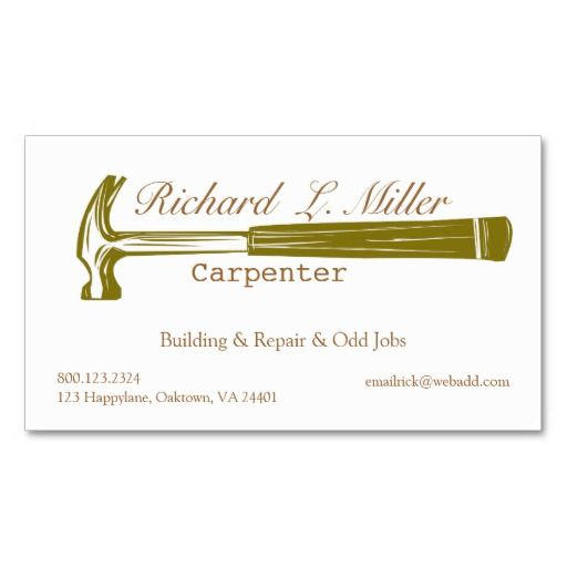 Carpenter Construction Business Card Templates  Carpenter