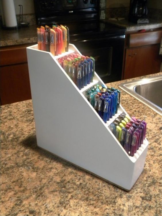 Craft Room Solid Wood Art Tool Pen Caddy by RuthiesGirlDesigns