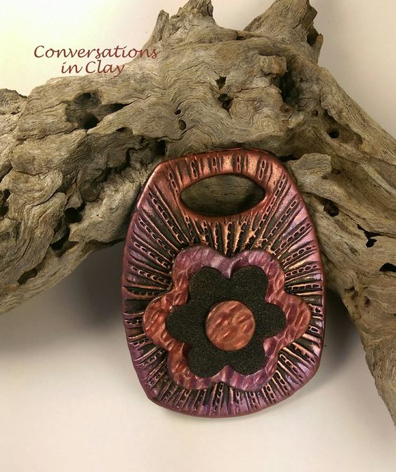 Faux Metal Flower Power - polymer clay