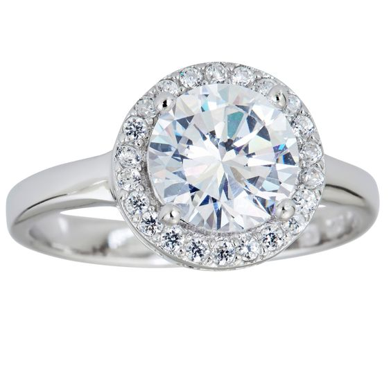Decadence Sterling Silver Micropave Halo Round-cut Cubic Zirconia Ring