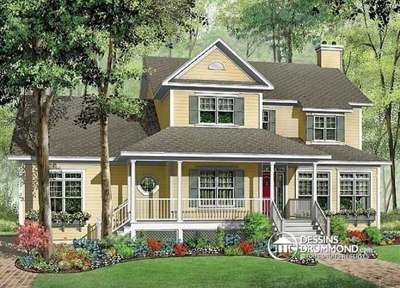 W3846 maison champ tre am ricaine 3 4 chambres 2 grands bureaux domicile espace boni for Plan de maison style americain