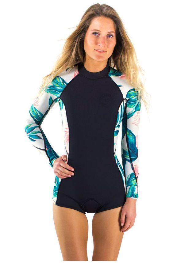 Combinaison de surf shorty manches longues imprimé Tropical Surf Capsule