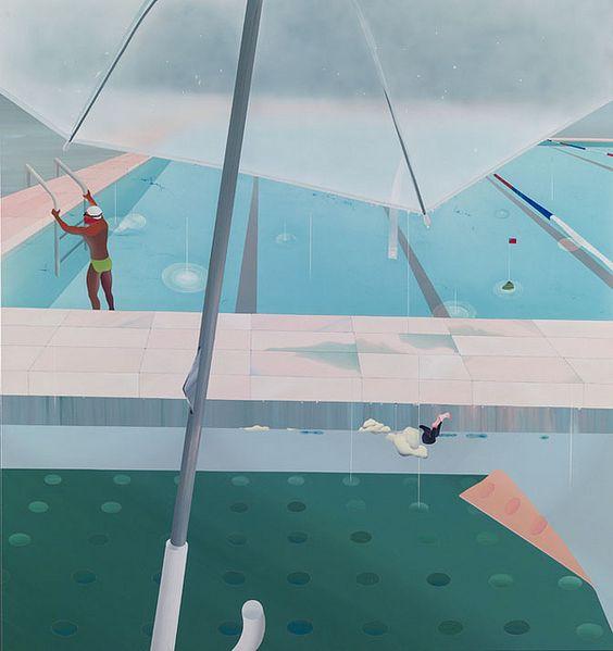 范揚宗_泳池系列-雷陣雨後7-11傘下_150x160cm_壓克力 畫布_2013_去背   Flickr - 相片分享!