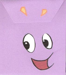 Dora the explorer Invitation for Dora Party Ideas. Homemade with Purple Paper! dora-the-explorer-party