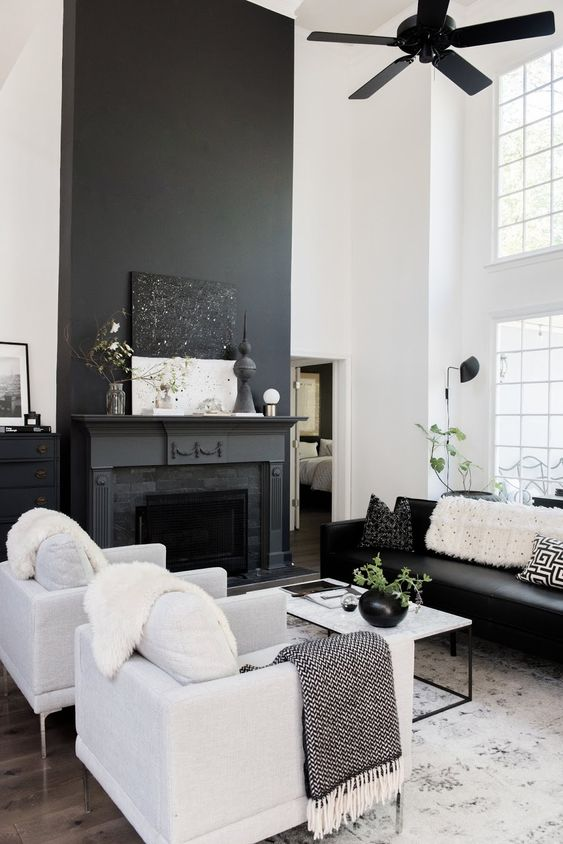 my scandinavian home: Before And After: A Dated Georgia House Gets The Scandi Treatment! Black and white living room with dramatic fireplace.