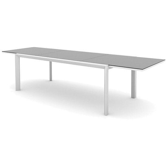 Table De Jardin Extensible Aluminium Plateau Verre 220 340cm Klara
