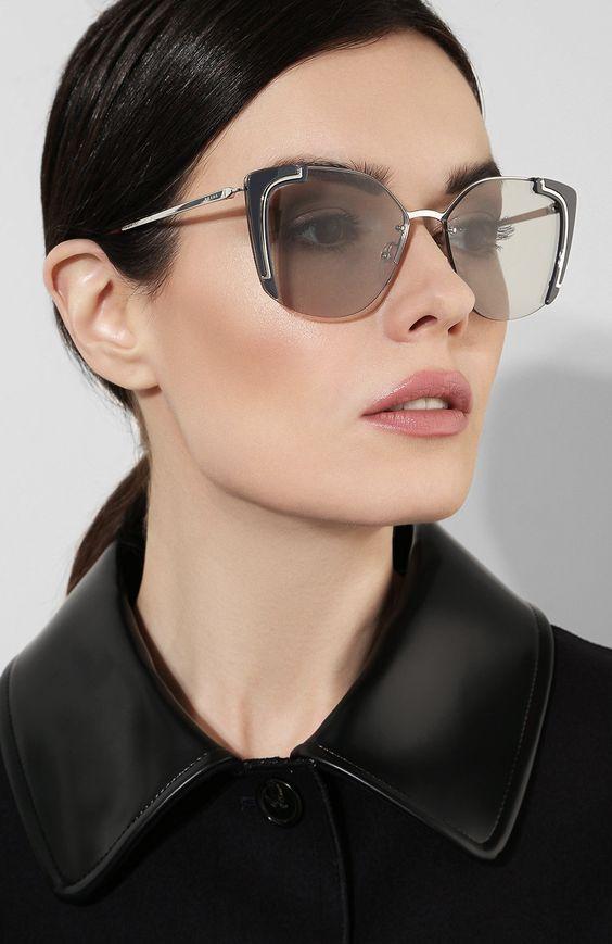 Женские серебряные солнцезащитные очки PRADA — купить за 22500 руб. в интернет-магазине ЦУМ, арт. 59VS-4295J0