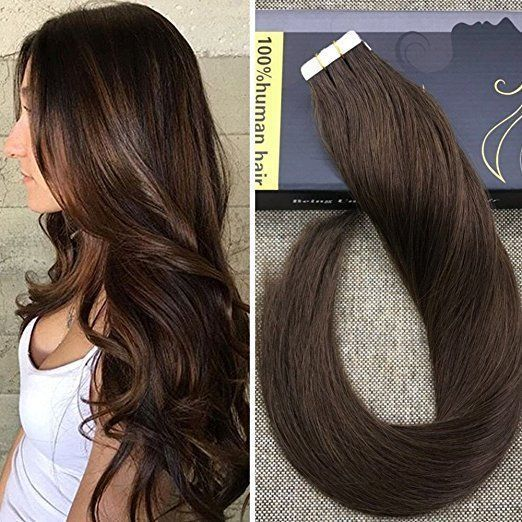 Tape In Remy Human Hair Extensions Dark Brown 4 Color Tape In