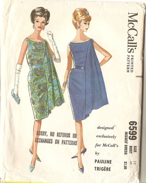 Pauline Trigere Sleeveless Wiggle Dress with Flowing Drape Vintage Sewing Pattern McCalls 6599