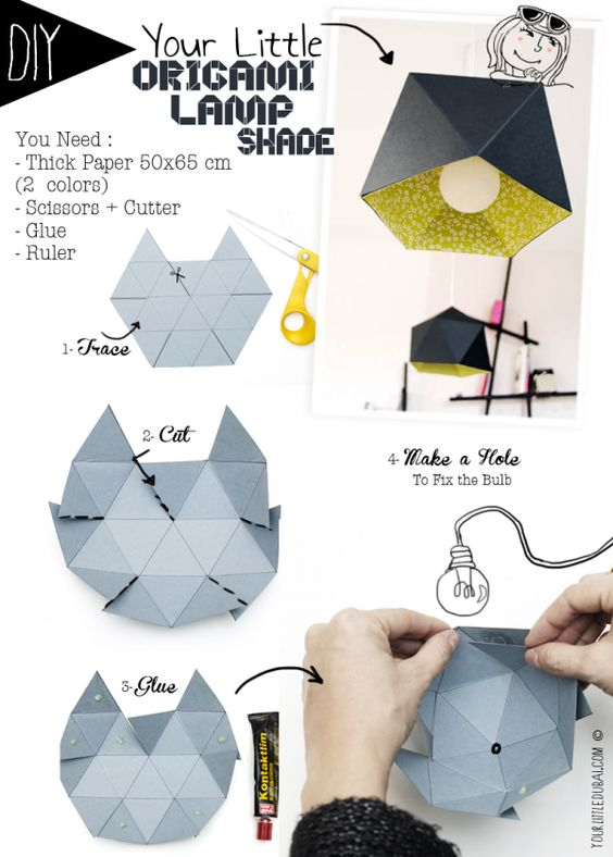 Design abat jour and origami on pinterest for Lustre en papier