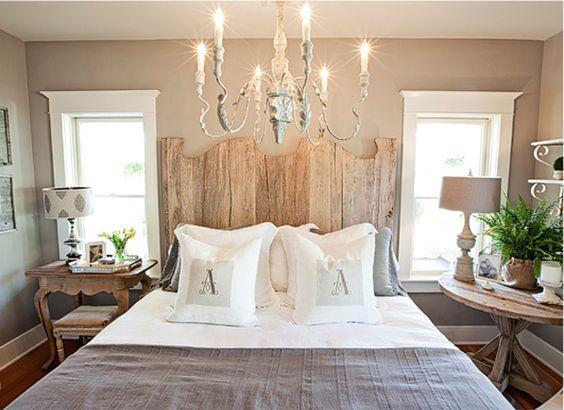 headboard: Design Inspiration, Guest Room, Bedside Table, Wall Color, Window Trim, Master Bedroom, Cottage Bedrooms, Bedroom Ideas