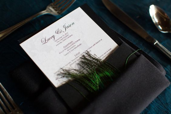DIY peacock menu  Pocket holder from cards and pockets  Printed menu on paper from cards and pockets.  glued peacock feather to outside of pocket fold    Lacey and Jason   Photos by Realities Photography  http://www.realitiesphotography.com