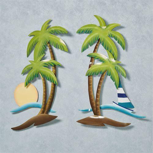 Seaside Oasis Indoor Outdoor Palm Tree Metal Wall Art Set Palm Tree Metal Wall Art Tropical Wall Art Wall Art Sets