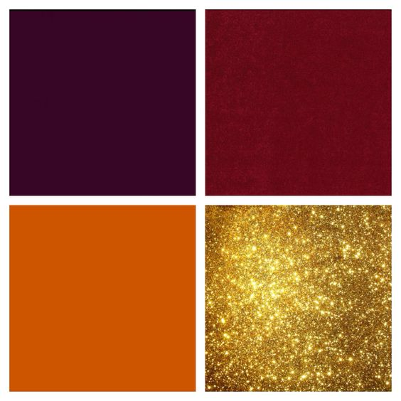 Eggplant cranberry burnt orange and gold color scheme Red and pink colour combination