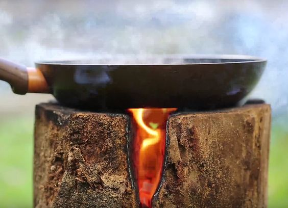 Make a DIY campfire from a single log