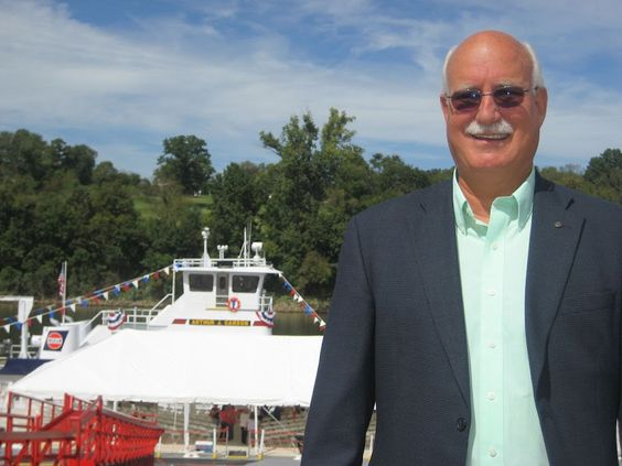 Art Carson at the christening of the M/V Arthur J. Carson, Cumberland river, Nashville, September 2010
