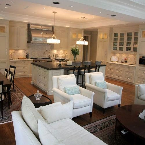 Great Room Kitchen Dining Room Family Room Combo Maybe Eventually We Can Take The Kitchen Walls Down Home Kitchen Dining Room Combo Kitchen Family Rooms