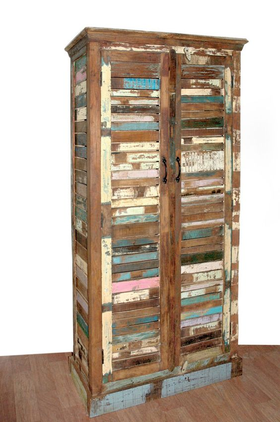 Kleiderschrank Schrank Regal Recyclingholz Massiv Shabby Vintage 180x90x38cm in Möbel & Wohnen, Möbel, Kleiderschränke | eBay