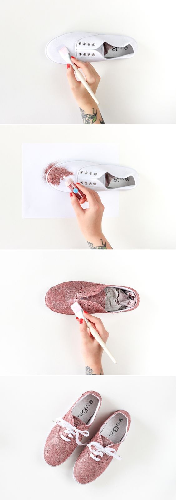 DIY Glitter Shoes from The Crafted Life #12monthsofmartha #marthastewartcrafts: