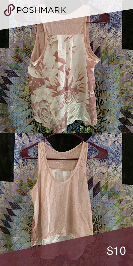 NWT American Eagle Outfitters Cropped Tank New with tags, light pink American Eagle Outfitters cropped Happy Hour tank. Back has patterned detail, front is plain. Super cute for layering. American Eagle Outfitters Tops Tank Tops