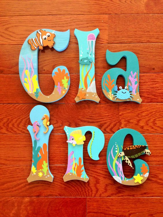 Custom hand painted wood letters match disney baby nemo 39 s for Disney fish names