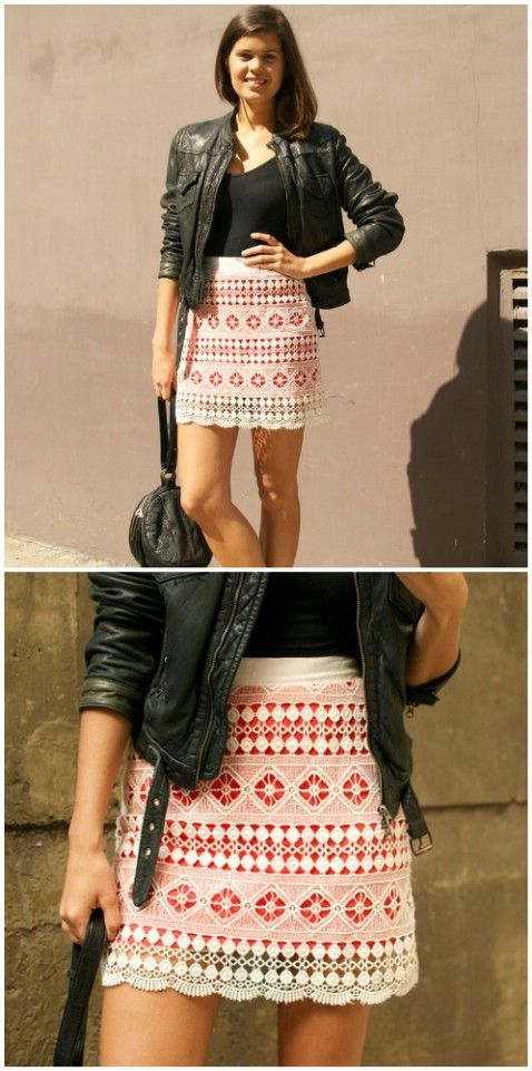 DIY Brightly Lined Lace Mini Skirt – Top 15 Summer Ready DIY Skirts With Free Patterns and Instructions