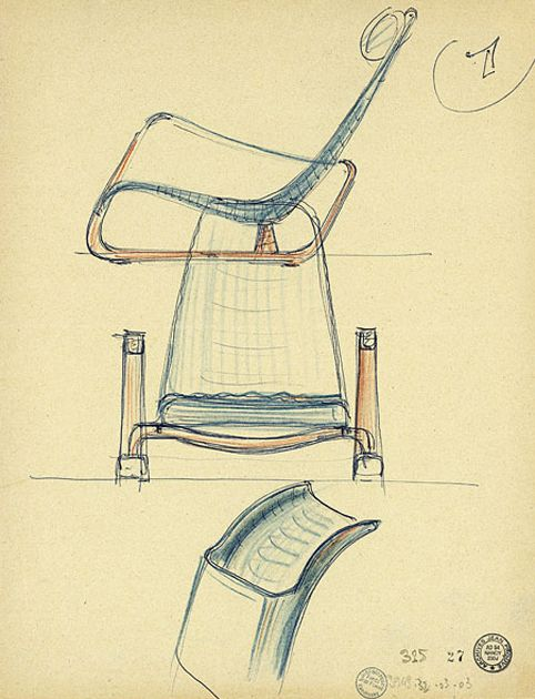 Jean Prouvé - Here is another Prouvé sketch of what looks to be the Cité lounge chair. via Centre Pompidou