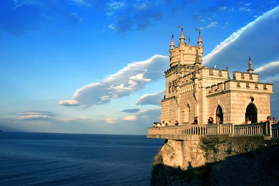 Swallow's Nest Castle in Ukraine, on a cliff overlooking the Black Sea.