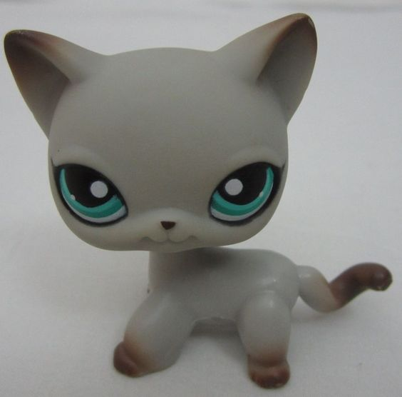littlest pet shop lps 391 siamese cat kitten gray. Black Bedroom Furniture Sets. Home Design Ideas