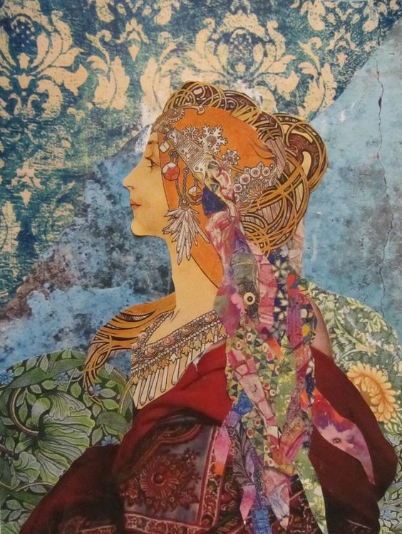 Ammeeta.  A paper collage usinga painting by Mucha.: