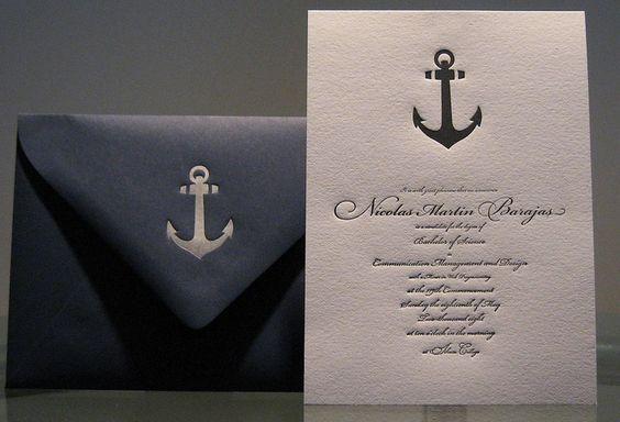 Nautical blue and white invite