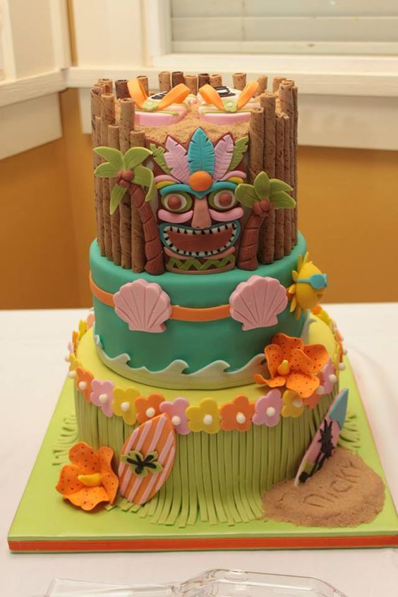 Birthday luau cake for a dear friend.  - cake for surprise luau birthday party....for my friend nicky: