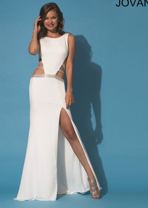 Sexy Ivory High Neck Cut Out Jovani 89898 Prom Dress With Slit