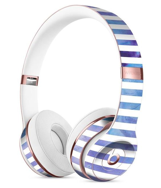 White Horizontal Stripes Over Purple and Blue Clouds Full-Body Skin Kit for the Beats by Dre Solo 3 Wireless Headphones