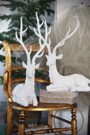 "*Fave* Creative Co-Op - 14""L x 21-1/2""H Resin Stag w/ Glitter, White, 2 Styles"