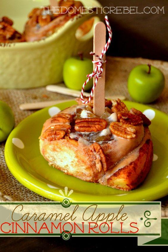 Caramel Apple Cinnamon Rolls -- made in minutes and taste INCREDIBLE!  #pillsbury #cinnamonrolls #fall #apple #cinnamon #easy #breakfast