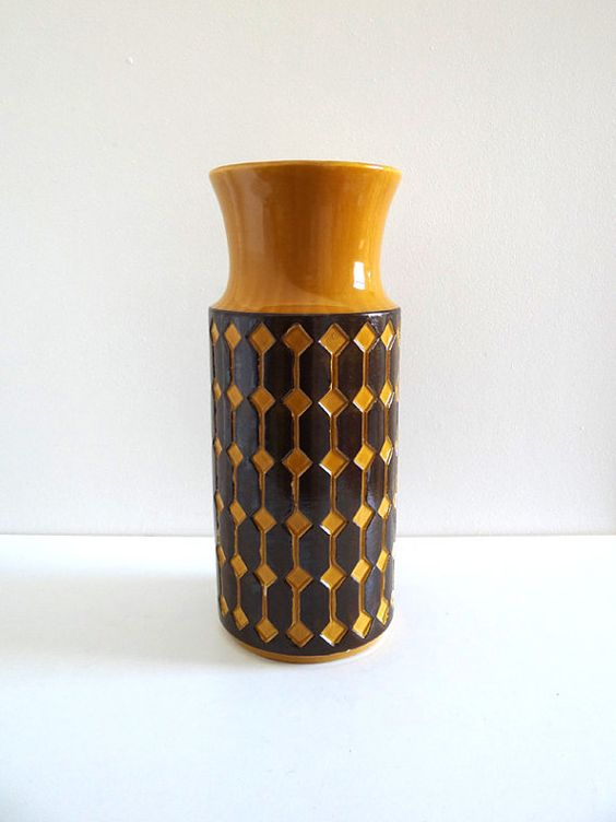 vase ou porte parapluie vintage jaune moutarde jasba germany c ramiques vintage et vase. Black Bedroom Furniture Sets. Home Design Ideas