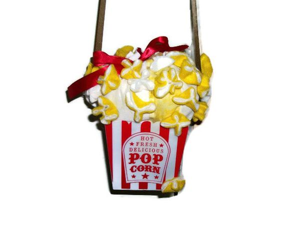 Mini Popcorn Purse Yellow White and Red Food by GourmetHandbags, $10.00