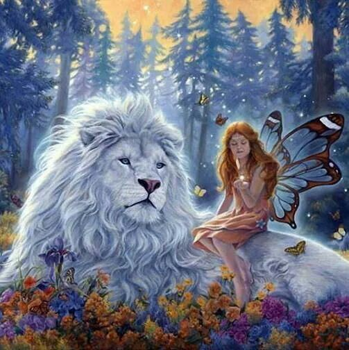 White Lion and Fairy - artist unknown     b: